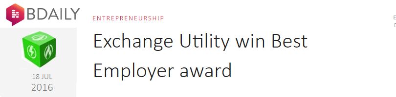 Exchange Utility win Best Employer award
